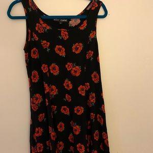 Betsy Johnson Black/Red Dias printing flowy dress